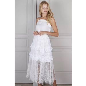 Senlis Lila White Eyelet Lace Tiered Skirt S NWT